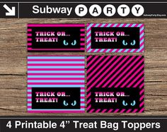 INSTANT DOWNLOAD Printable Halloween Monster High Theme Party Favor Treat Bag Toppers with Spooky Eyes. Pink, Blue, Black Stripes. Party Decor DIY by subwayParty, $3.50