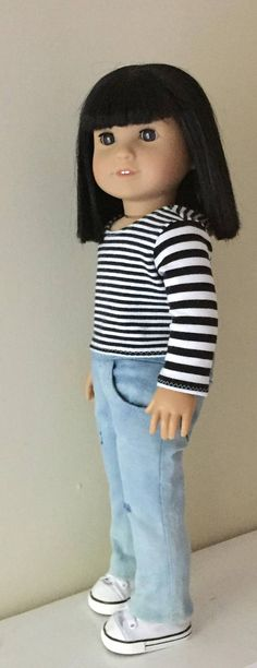 "White Hand Knit Sweater /& Black Capris for 22/"" American Model doll tonner"