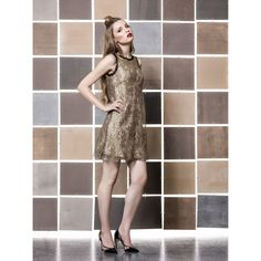 by Gio Rodrigues Ceremony short dress sable golden lace