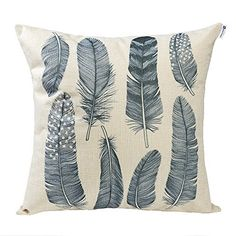 Happytimelol 18 x 18 Cotton Linen Throw Pillow Case Cover 3D Feather Style 4 >>> More info could be found at the image url.
