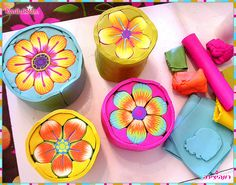 Flower Millefiori Polymer Clay Canes - in process | by Ronit Golan