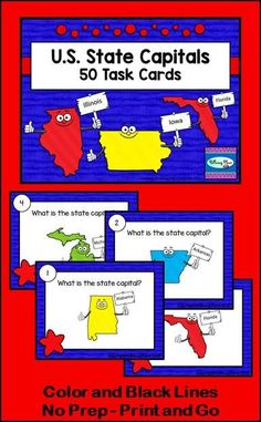 US State Capitals - 50 Task Cards in both Color and Black Lines. 5th Grade Social Studies. ($)