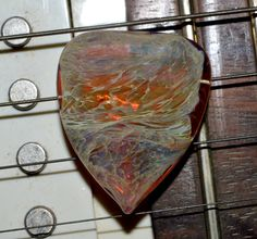 Exquisite Guitar Pick Amber Purple Ether - Handmade Glass