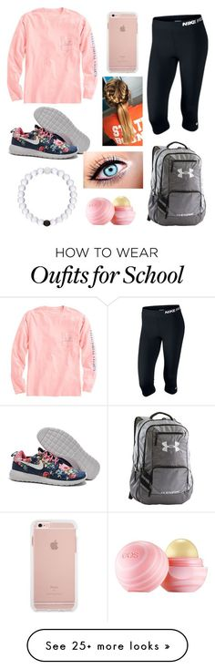 """School tomorrow"" by ll1021 on Polyvore featuring NIKE, Vineyard Vines, Under Armour and Eos"