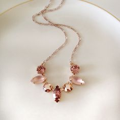 Gorgeous necklace done with Swarovski crystals in blush rose, rose gold and vintage frosted glass stones. Rose gold setting, chain and clasp. Stylish Rings, Stylish Jewelry, Cute Jewelry, Vintage Jewelry, Fashion Jewelry, Girls Jewelry, Jewelry Accessories, Jewelry Design, Diamond Necklace Set