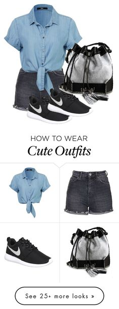 """Cute outfit"" by alaska4k on Polyvore featuring Topshop, NIKE, Carianne Moore, women's clothing, women's fashion, women, female, woman, misses and juniors"
