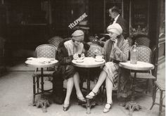 French Flappers, Parisian Cafe 1920's