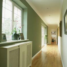 Colour ideas for hallways hallway color ideas paint color for hallway hallway colour schemes ideas modern Hallway Colour Schemes, Hallway Colours, Color Schemes, Green Hallway Paint, Photo Gallery Hallway, Best Gray Paint, Grey Paint, Hall Colour, Green Corridor