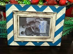 8 x 12 chevron painted and distressed frame by Handpaintedframes, $20.00