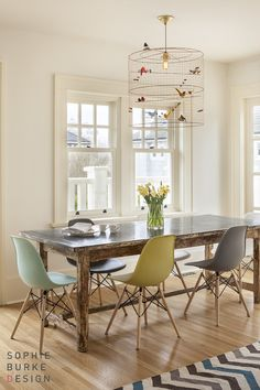 Sophie Burke Design - dining rooms - bird cage chandelier, bird cage pendant, le petite pendants, reclaimed wood dining table, salvaged wood dining table, dowel leg chairs, colorful dining chairs,