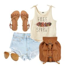 Spring/Summer Outfit - Light Blue denim jeans, Graphic print singlet, Brown bag, Brown sandals, and sunglasses.