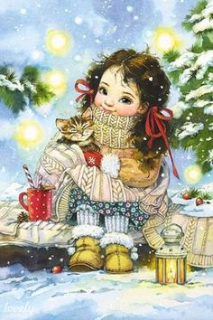 Cat Christmas Tree, Christmas And New Year, Christmas Time, Vintage Christmas, Winter Illustration, Cute Illustration, Son Chat, Christmas Paintings, Whimsical Art