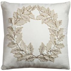 Rizzy Home Holiday Collection Throw Pillows- Multiple Holiday Patterns available (Holly Wreath Throw Pillow), Beige Off-White, Size 20 x 20 (Cotton, Animal) Christmas Cushions, Christmas Pillow, Throw Pillows Bed, Decorative Throw Pillows, Accent Pillows, Christmas Sewing, Christmas Crafts, Xmas, Felt Pillow