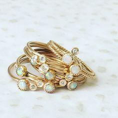 DIamond and Opal Sweetheart Ring