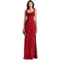 DIANE VON FURSTENBERG DVF Vamp Lace Gown ($998) ❤ liked on Polyvore featuring dresses, gowns, long gowns, long evening gowns, lace dress, red dress and red evening gowns