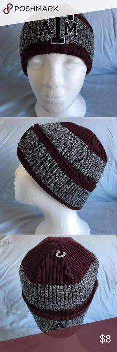 Texas A&M Beanie Hat New Without Tags One Size New without tags Adidas Texas A&M Beanie Knit Hat One Size fits most  Adidas logo on the back.  New, never worn.  No tags attached, but the plastic hanger that the tag was once attached to is still in place. adidas Accessories Hats