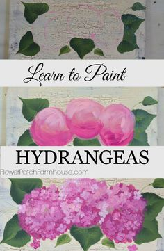 How to paint Hydrangeas in acrylics. One stroke at a time. Easy petaled flowers combined into a beautiful design. Simple enough for beginners this tutorial is fast and includes a video.