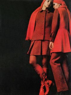 Fashion in red for Vogue UK, September 1968.