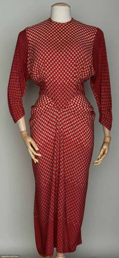 1940s silk afternoon dress in red ground w/polka dots in shades of cream and gray.