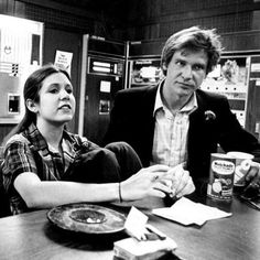 Carrie Fisher and Harrison Ford. Date unknown.