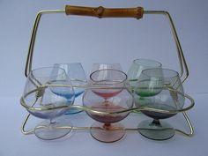 Six Cognac Glasses In Brass Stand / Mid by ShabbRockRepublic