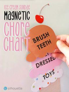 Ice Cream Sundae Chore Chart | A Printable Magnet Paper Tutorial | Silhouette | Bloglovin'