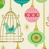 Baubles and birds in cages