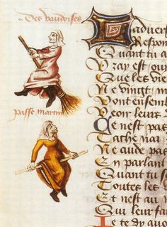 """Witches portrayal of Martin Le France, """" Le champion des dames """" in his work, in 1451"""
