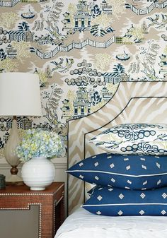 Luzon wallpaper in navy & beige, Ridgewood headboard from Thibaut Fine Furniture in Etosha embroidery fabric Home Interior, Interior Design, Chinoiserie Chic, Chinoiserie Wallpaper, New Wallpaper, Asian Wallpaper, Chic Wallpaper, Wallpaper Ideas, Fine Furniture
