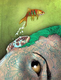 Artwork by David Curtis Koi, David Curtis, Psy Art, Unusual Art, Love Illustration, Art For Art Sake, Surreal Art, Love Art, Oeuvre D'art