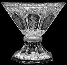 signed Sinclaire ABCG punch bowl, in the Intaglio Brilliant pattern. Antique Glassware, Crystal Glassware, Cut Glass, Glass Art, Vintage Bottles, Antique Bottles, Vintage Perfume, Types Of Glassware, Punch Bowl Set