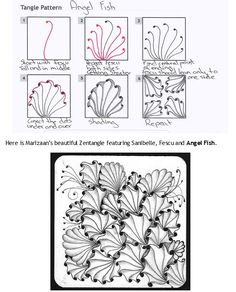 How to draw ANGEL FISH by Marizaan « TanglePatterns.com - Pinned with Pin Anything from pin4ever.com