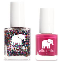 """mommy&me® set Nail polish set with one """"mommy"""" nail polish bottle (14.78 ml) and one """"me"""" nail polish bottle (7 ml). Included in this set is one nail decor"""