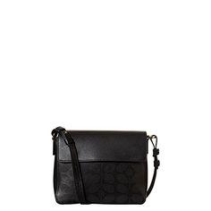 Orla Kiely: Sixties Stem Punched Leather Olivia Bag (0LEASSP089) | Black