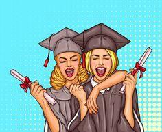 Два поп-арт возбужденных девочек-выпускников в выпускной кепке и мантии с университетским дипломом в руках Бесплатные векторы