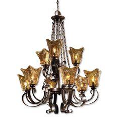 Buy the Uttermost 21005 Oil Rubbed Bronze Direct. Shop for the Uttermost 21005 Oil Rubbed Bronze 9 Light 2 Tier Chandelier with Handmade Glass Shades from the Vetraio Collection and save. Hanging Chandelier, Bronze Chandelier, Chandelier Ceiling Lights, Chandelier Shades, Hanging Lights, Chandelier Ideas, Empire Chandelier, Pendant Lighting, Gold Glass