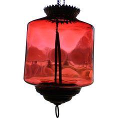Antique Cranberry Hobnail Oil Hall Lamp found at www.rubylane.com @rubylanecom
