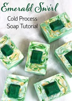 This Emerald Swirl Cold Process Soap Tutorial uses melt and pour embeds and mica painting to create a sophisticated and eye-catching design.