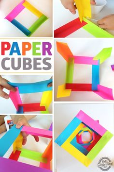 These paper cubes are totally cool.  You need 12 strips of paper that are equal in size.  Glue the corners together.