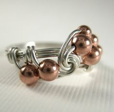 Mixed Metal Wire Wrapped Ring Sterling Silver and by holmescraft, $23.00
