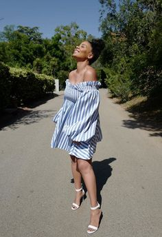 Street Style Look Of The Day: American Actress Sanaa Lathan Celebrity Beauty, Celebrity Babies, Celebrity Feet, Off Shoulder Gown, Off Shoulder Blouse, Omar Epps, Sanaa Lathan, People Icon, Lace Body