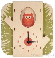 Ecofriendly Wooden Tree Owl Wall Clock - contemporary - clocks - by inhabitots.com
