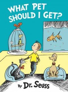 "July 29, 2015. A boy wants all of the pets in a pet store but he and his sister can choose only one. End notes discuss Dr. Seuss's pets, his creative process, and the discovery of the manuscript and illustrations for ""What Pet Should I Get?"""