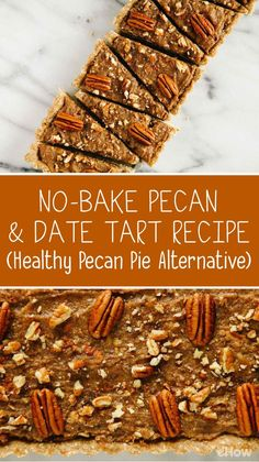 No-Bake Pecan & Date Tart Recipe (Healthy Pecan Pie Alternative A healthy pecan pie alternative! Enjoy all the flavors you love without any of the hassle. Make this no-bake pecan and date tart that in no time! Pecan Desserts, Pecan Recipes, Healthy Dessert Recipes, Delicious Desserts, Pecan Tarts, Pecan Pies, Healthy Food Alternatives, Baking, Girlfriends