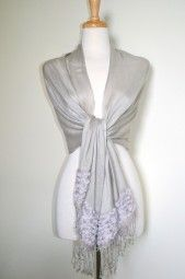 Beautiful spring and summer pashmina wrap with feminine rose and lace detail.  This lightweight and soft silver grey pashmina shawl has embroidered roses and lace on each end. $24.99 Use code PINIT at checkout for 10% off your entire order.