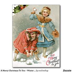 A Merry Christmas To You ~ Winter Snow Postcard