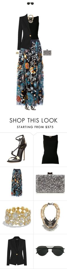 """Queen of the Galaxy"" by zimmerglimmer ❤ liked on Polyvore featuring B Brian Atwood, Michael Kors, Valentino, Edie Parker, David Yurman, Venna, Balmain and Mykita"