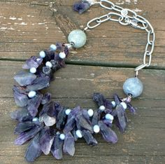 Chunky Natural Rough Amethyst Beaded Necklace, $125 | GracefulDesigns on ArtFire