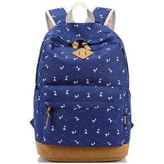 b3a5919f2 Fresh Elk Printing Student Canvas Rucksack Fawn Girl School Backpacks
