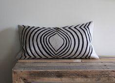 Indigo & beige handprinted organic hemp pillow cover 12x21. $60,00, via Etsy.